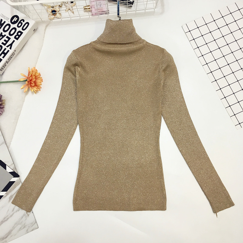Autumn Winter Fashion Wild Turtleneck Bright Silk Knit Sweater Female Gold Silk Long-sleeve Slim Stretch Pullover Sweater Women