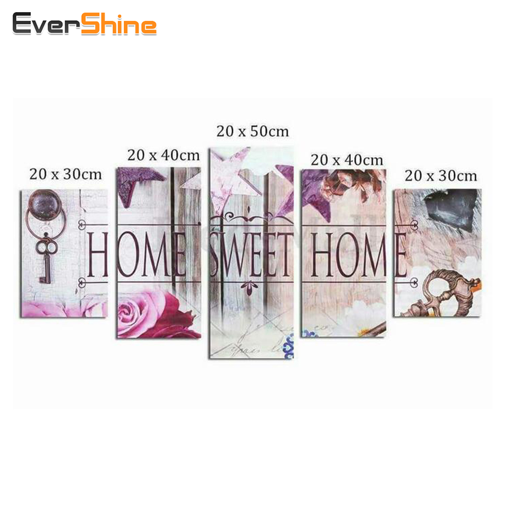 EverShine, Diamond Embroidery Flower Pilns laukums Diamond Painting Cross Stitch Multi-picture Rhinestones Diamond mozaīkas