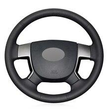 Черный PU искусственная кожа DIY ручной шитье чехол рулевого колеса автомобиля для Geely EMGRAND EC7 EC715 EC718
