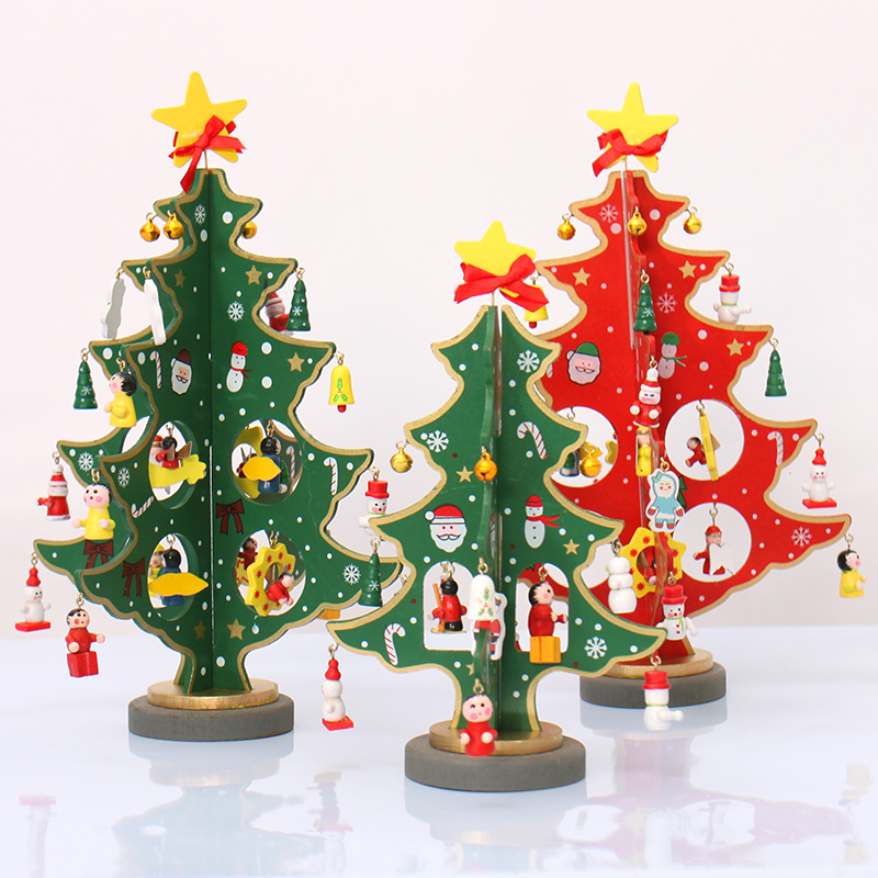 brand new christmas decoration 20cm 30cm colorful wooden diy desktop mini christmas tree stereoscopic home party - Christmas Decorations Wholesale