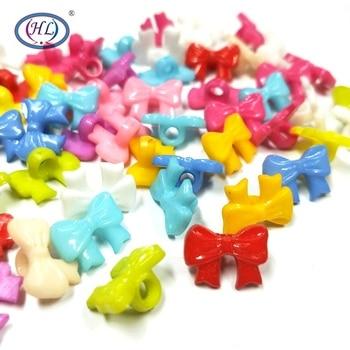 HL 14x9mm 50/100/200PCS Mix Colors Bowknot Shank Plastic Buttons Kids Apparel Sewing Sccessories DIY Crafts