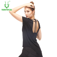 Women Running Shirt Sexy Back Athletic Shirt Black White Cool Dry Fit Yoga Shirts Workout Shirt