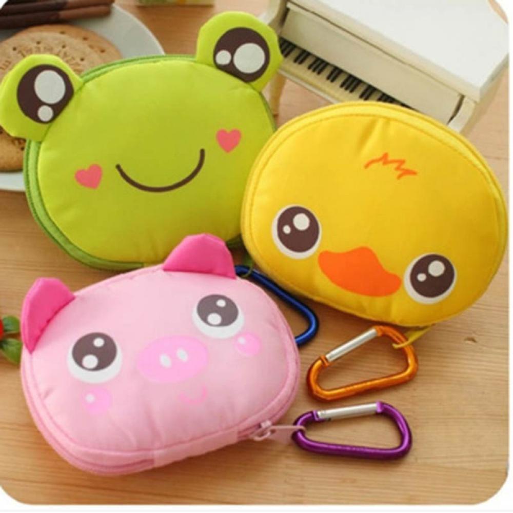 New Travel Foldable Bag Storage Reusable Animal Shopping Bag Handbag Grocery Tote Bag Cute Cartoon Hangable Organizer Pouch Bags