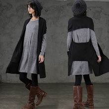[Gutu] 2017, Новая мода пальто свободного кроя основной поток шаль Длинные Вязание без подкладки верхняя одежда черный жилет YD50201S