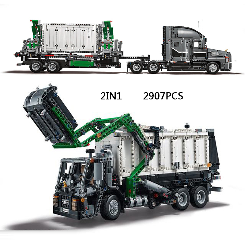 Hot technician technics Garbage Transport truck 2in1 building block model bricks 42078 educational toys collection for kids gfit hot funland merry go round building block with motor figures whirligig bricks 10196 model electric toys collection for kids gfit
