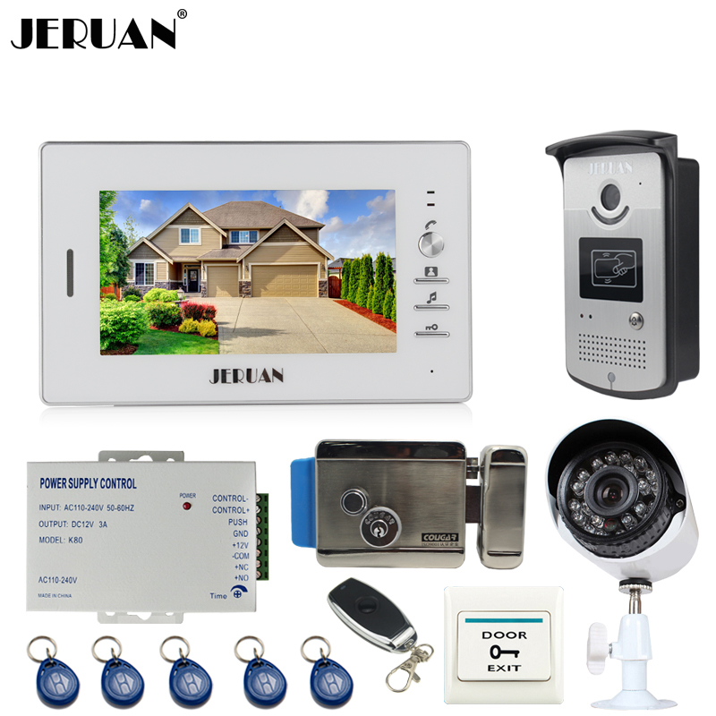JERUAN Home 7`` TFT screen Video Door Phone Intercom System kit RFID Access Camera + 700TVL Analog Camera +remote control+E-lock jeruan home 7 video door phone intercom system kit 1 white monitor metal 700tvl ir pinhole camera rfid access control in stock