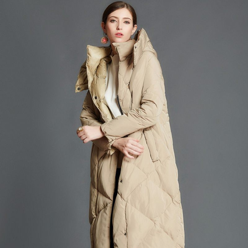 Winter Warm Plus Long   Down     Coat   Women Stand Collar Hooded Detachable Covered Button Puffer Duck   Down   Jacket Female Outerwear New