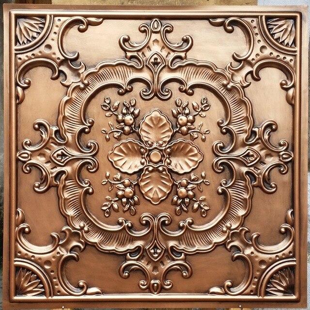 PL19 Faux Tin Ceiling Tiles Antique Copper Color 3D Embossed Photographie  Background Wall Panels 10tiles/