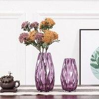 Brand New Purple Glass Vase Tabletop Decorative Glass Vase Wedding Decoration Gift Home Decor Gift European Nordic Vases