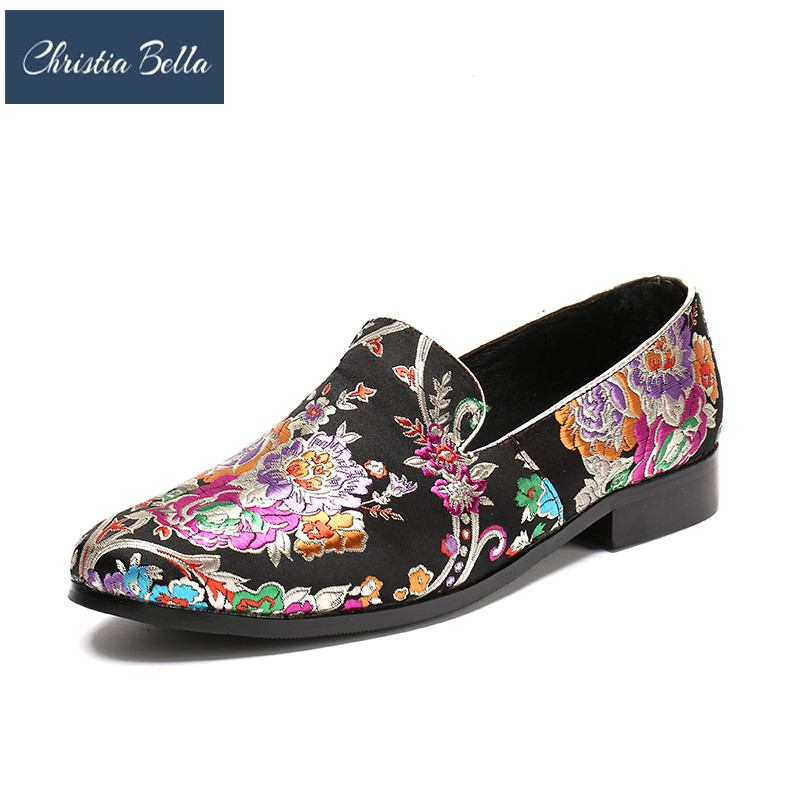 Christia Bella Wedding and Party Men Shoes Fashion Men's Flats Handmade Black Color Print Flower China Style Men Loafers Shoes
