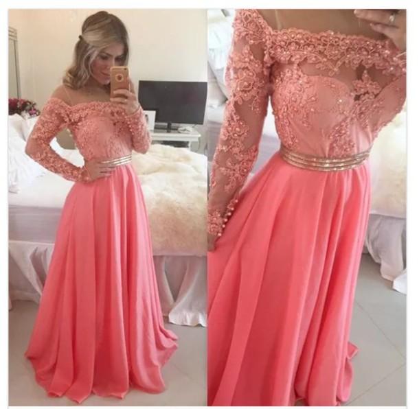 ffd3da31e38a Beautiful A Line Lace Long Sleeves Evening Dress Gold Beads Belt Pink Evening  Gown Custom Made Vestido de noite