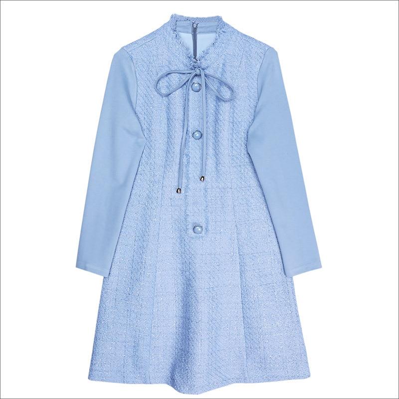 Tempérament Tie Robe De Et Automne Vertical Laine 2019 Col Couture Avec Femmes Nouvelles Blue Bow Mince 1pqxBw70x