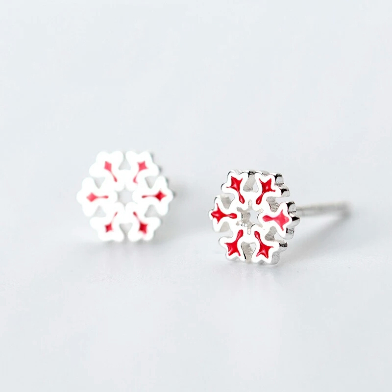 100% 925 Sterling Sliver Cute Tiny Snowflake Stud Earrings for Women Teens Girls Jewelry <font><b>E6700</b></font> image