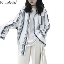 NiceMix Spring Casual White Blouses Women Stripe Shirt Plus Size Womens Tops And Blouses Vetement Femme Blusas Femininas 2019 цена