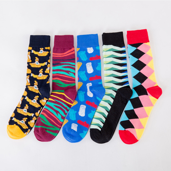 Jhouson 1 pair Wholesale Colorful Men's Funny Combed Cotton Causal Skateboard Socks Crew Dress Wedding Socks Novelty Happy Socks 1