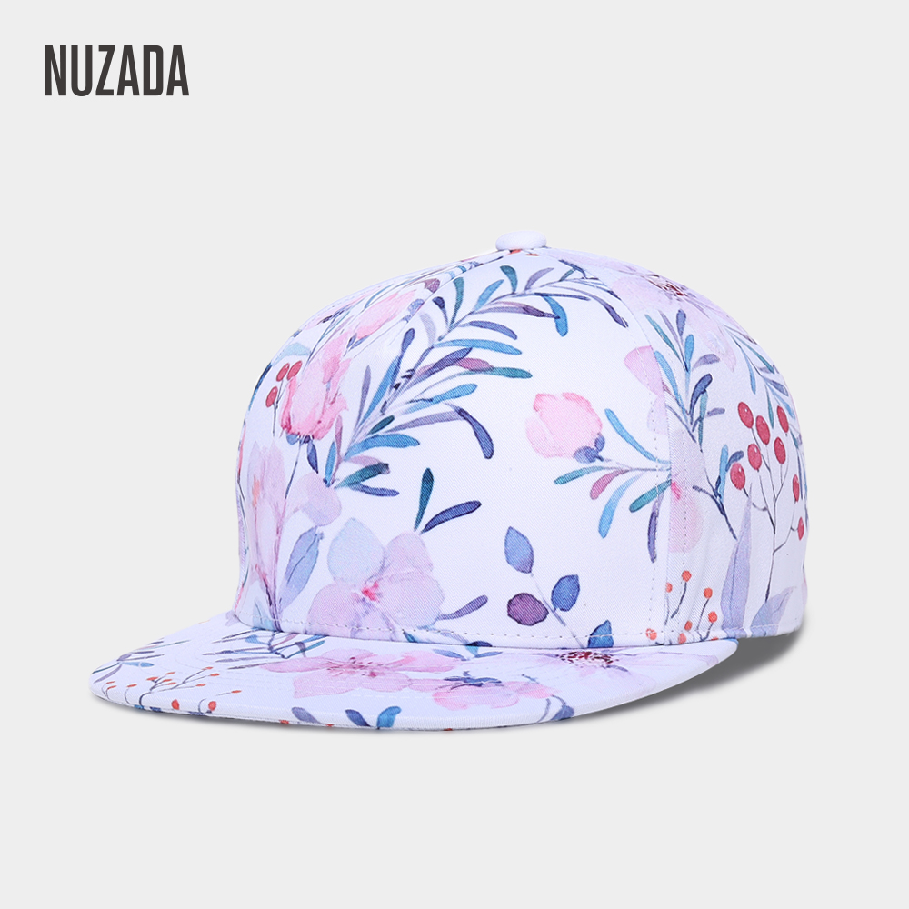 Brand NUZADA 3D Printing   Caps   Hats Spring Summer Small Fresh Flowers Women   Baseball     Cap   Bone Cotton Adjustable Snapback