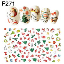 1PC Christmas Nail Stickers Xmas Tree Snow Bell Santa Claus Christmas Element Cute Adhesive Nail Art Stickers Beauty Supplies sparkling christmas tree pattern door art stickers
