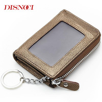 DISNOCI New Mini Key Wallets Card Holder Coins Bag Genuine Cow Leather Purse Fashion Car Key Wallet Keychain Auto Car Key Cases