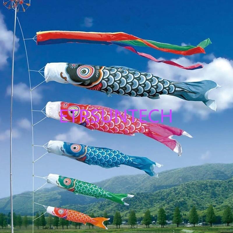 Golden Carp Wind Sock Koinobori Fish Kite Flag Hanging Wall Decor 50-110cm