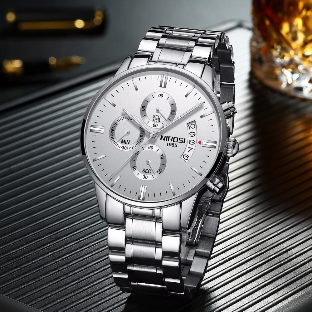 Relojes de hombre NIBOSI Relogio Masculino, relojes de pulsera de cuarzo de estilo informal de marca famosa de lujo para hombre, relojes de pulsera Saat 24