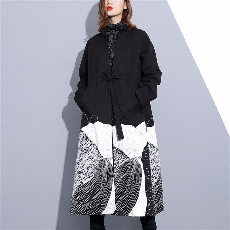 Lâche Mode Manteau Automne Femelle Streetwear 2018 Femmes Tranchée Surdimensionné Cardigan Longues Casual Black Outwears khaki Pardessus Imprimer Nouveau IwP5Yx1