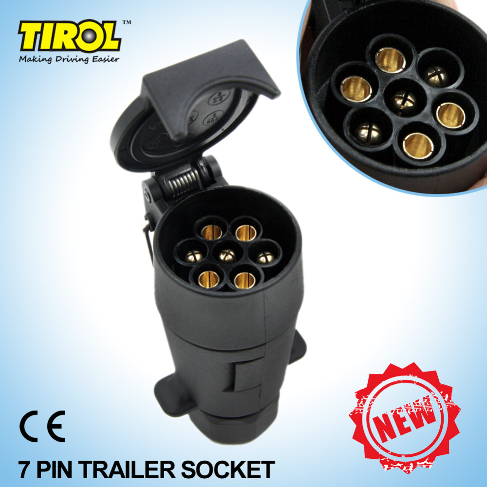 Tirol 7-Pin Trailer Socket Black frosted materials 7-Pole Trailer Socket 12V Tow bar Towing Socket N Type T21224b