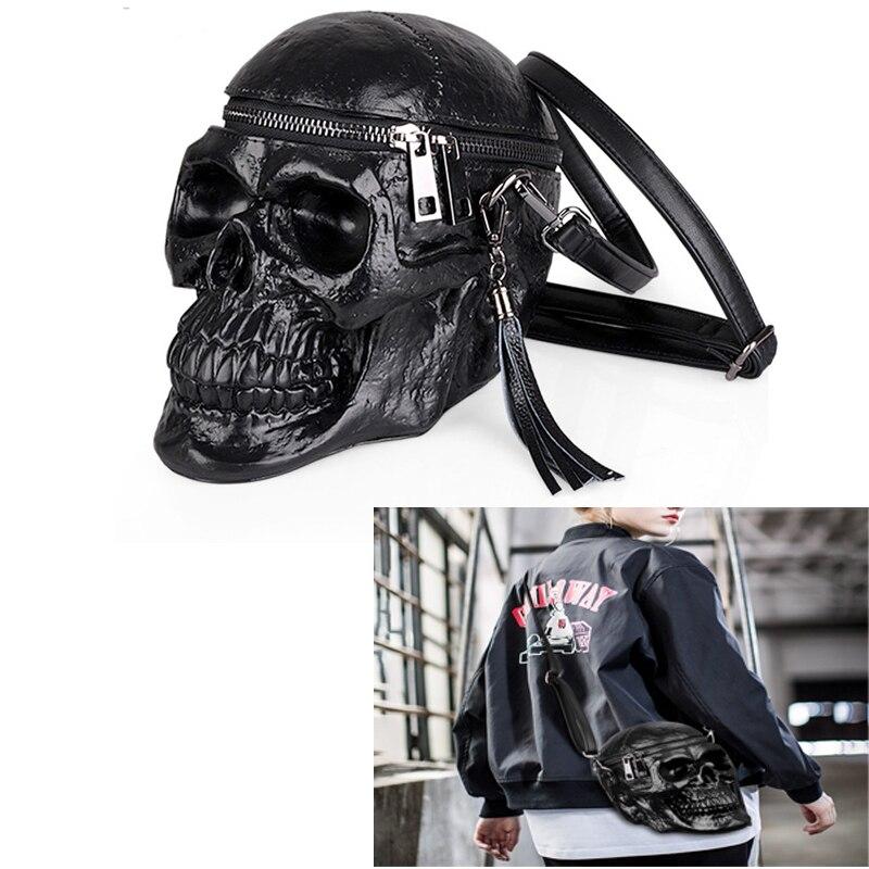 JQTUNING-femmes sac drôle squelette tête noir handbad hommes paquet unique créateur de mode sacoche paquet crâne moto sacs