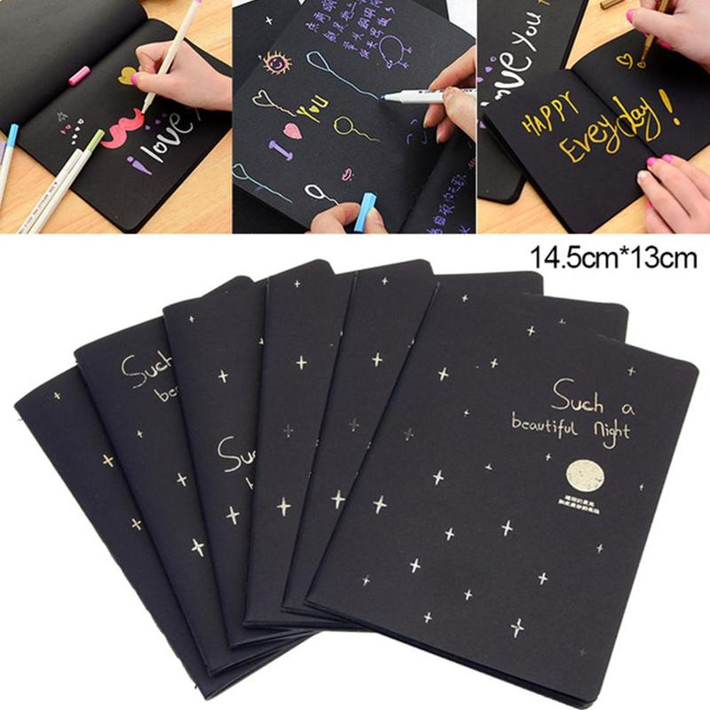 Creative Black Notebook 56k Galaxy Black Inner Page Car Line Graffiti Sketch Book Diary Bullet Journal School Office Stationery