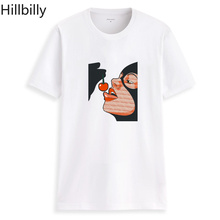 Hillbilly Cute Girl Harajuku Casual Kawaii Cotton T-shirts Women Plus Size Vintage Funny Printing Hero Eating Cherry Shirts 2018
