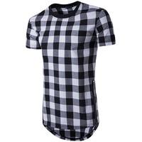 Plaid T Shirt Men Cool Hip Hop Mens Short Sleeve T Shirts Swag Tyga Style Brand