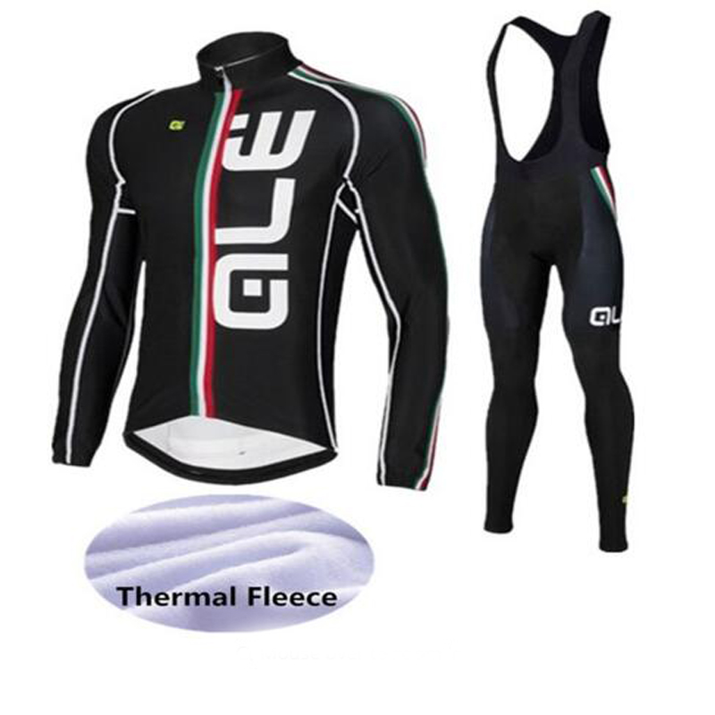2017 Racing Winter Thermal Fleece Long Sleeve Cycling Jersey Set Bib Pant Long Sleeve Warm High Quality ALE Cycling Clothing chic quality warmth thermal fleece base layer cycling long sleeve jersey for unisex