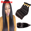 2016 Rosa Quality Black 1B Indian Virgin Hair Straight 100% Human Hair Weave with Closure 4pc Hair bundles with Lace Closure