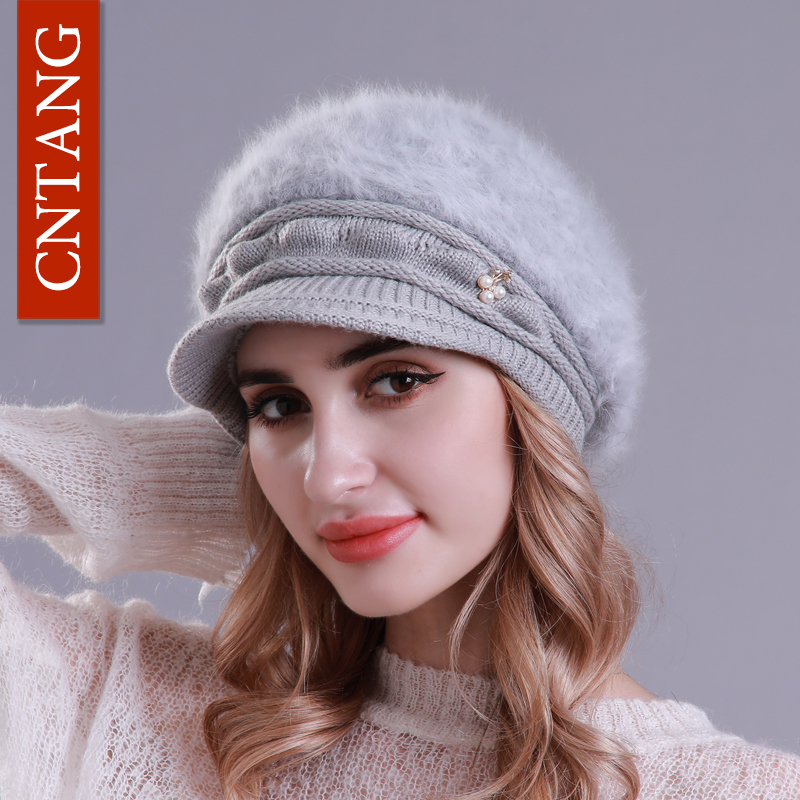 CNTANG Winter Hats Knitted Women Faux Rabbit Fur Hat Skullies Beanies For Female Plus Velvet Warm Fashion Pearl Caps 2018