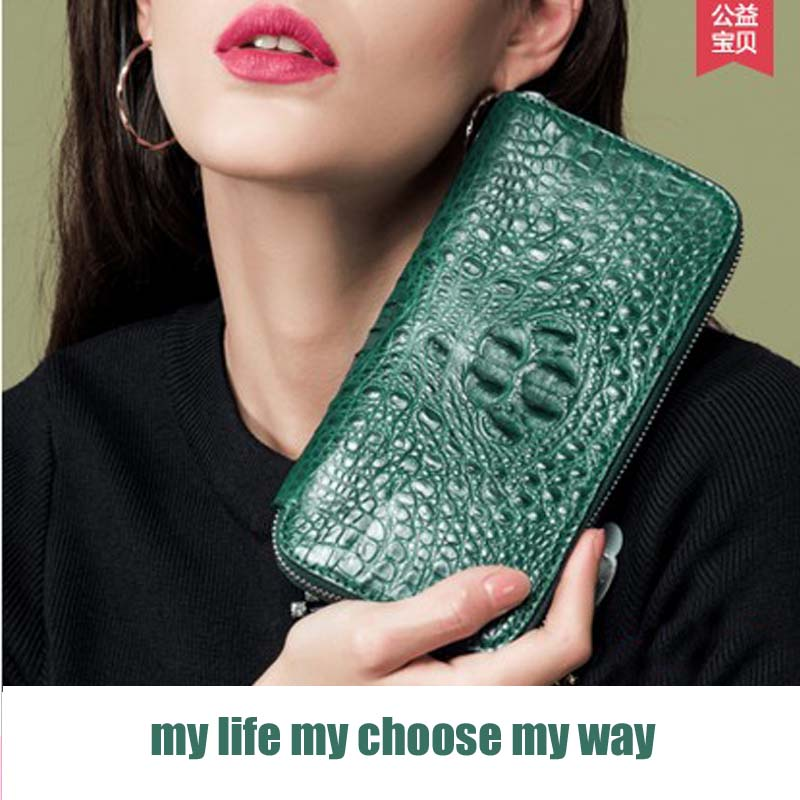 2018 hlt  new crocodile women purse women clutch bag  crocodile leather bags from European and American fashion women wallet dollar price new european and american ultra thin leather purse large zip clutch oil wax leather wallet portefeuille femme cuir
