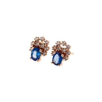 Blue sapphire gemstone earrings for women with silver jewelry