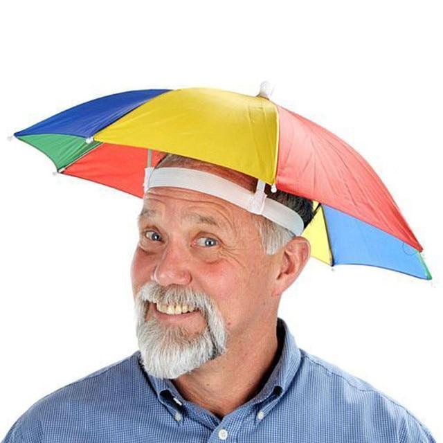 FASHION 2018 hot rainbow patchwork Novelty Umbrella Sun Hat Camping Fancy  intresting caps Harajuku Multicolor funny 351c9aa94ed