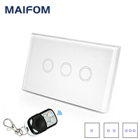 Home Luxury Wireless Touch Switch Crystal Glass Touch Panel Remote Push Button Wall Light Switch 90