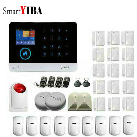 SmartYIBA Mutifunction Wireless Home Security GSM Alarm System with Wireless Fire Detector Wireless Glass Break Detector Alarm wireless glass break sensor for gsm pstn alarm system home surveillance use glass smash detector with adaptor high quality