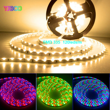 5m Ultra Bright 600leds 120leds/m SMD335 White/Warm white/Blue/Green/Red LED Strip IP30/IP65 DC12V For Car Home Decoration