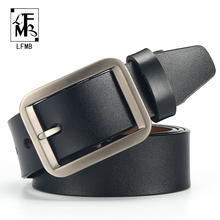 Купить с кэшбэком [LFMB]male genuine leather strap belts for men  leather belt man brand strap male pin buckle fancy vintage cowboy jeans
