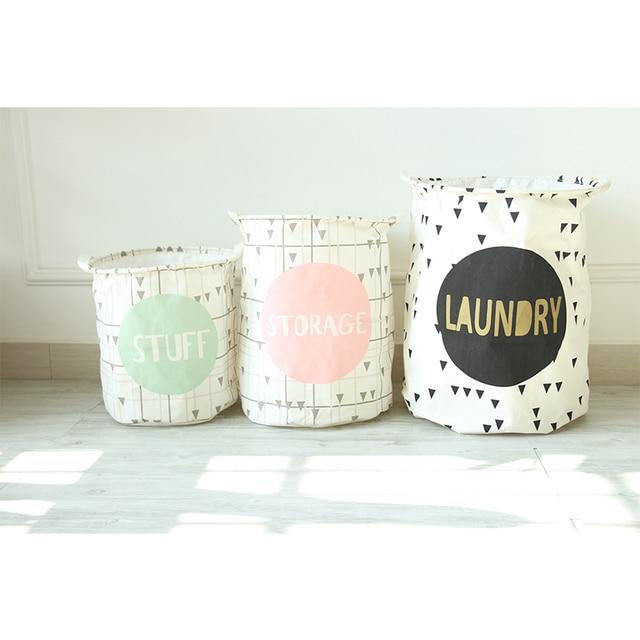 Household Organizer Canvas Basket Home Decor Waterproof Fold Clothes Laundry Hamper Kids Toy Drawstring Storage Bag