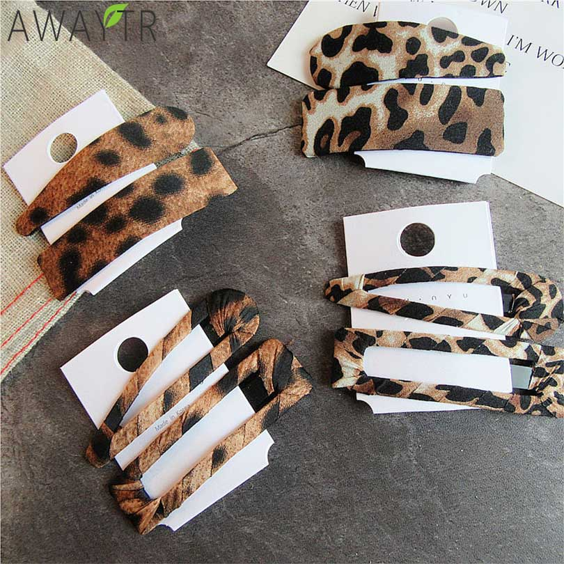 AWAYTR 2PCS Fashion Leopard Set Hairpins Girls Barrettes Hendband Hair Clip Clamp Jewelry Styling Tools Women Hair Accessories