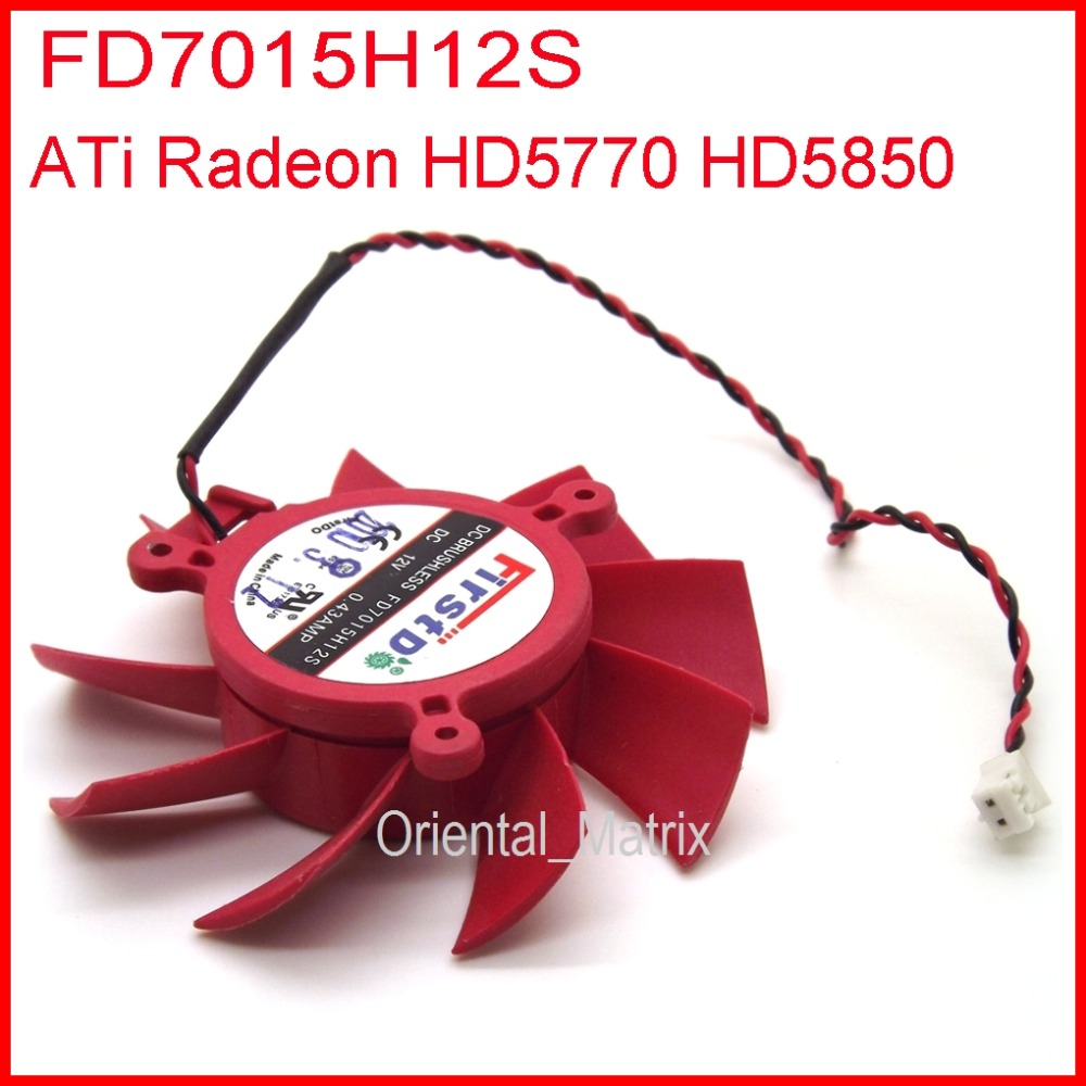 Free Shipping Firstdo FD7015H12S 12V 0.43A 65mm 39x39x39mm For ATI Radeon HD5770 HD5850 HD5830 Graphics/Video Card Fan 2Pin