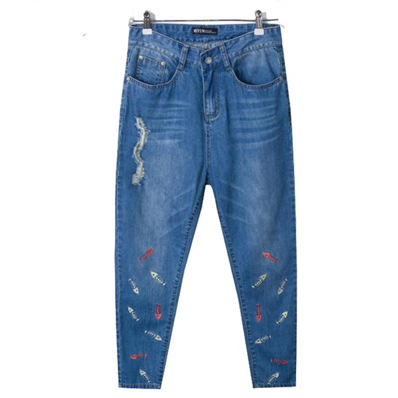 ФОТО 2016 Big Size Women Jeans Loose Break Hole Fashion Jeans Female Embroidery Casual  Blue Jean Pants Brand High waist Denim Pants