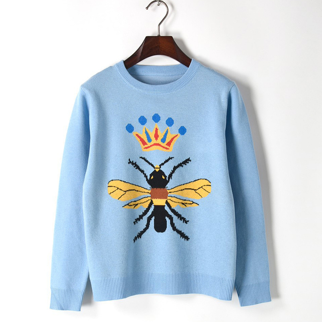 Dooratu New Arrival Women Cute Bee Pattern Long Sleeve O Neck Light