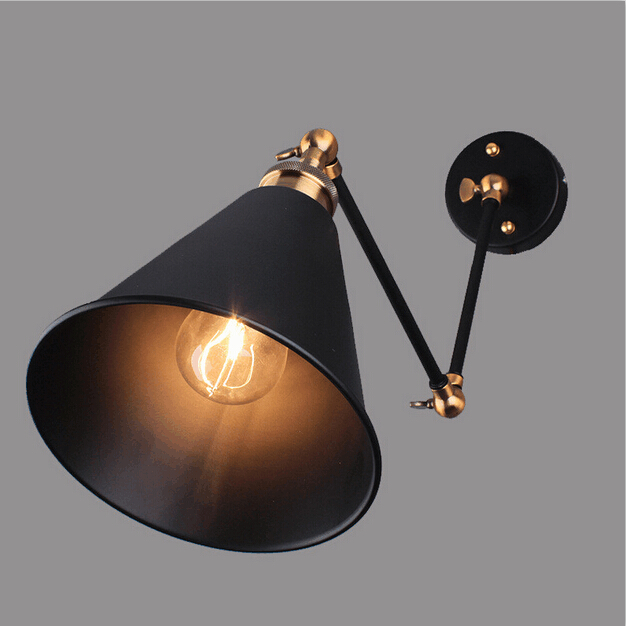 Industrial Vintage Wall Lamps Simple style Wall Lights LOFT Little <font><b>Umbrella</b></font> Double Arm Bedside Lamp Restaurant Light Fixtures