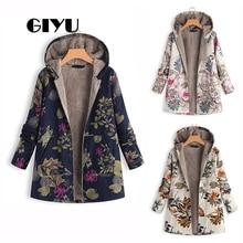 GIYU Winter Long Sleeve Hooded Jackets with Zipper Women Faux Fur Coat Casual Flower Printing chaqueta mujer