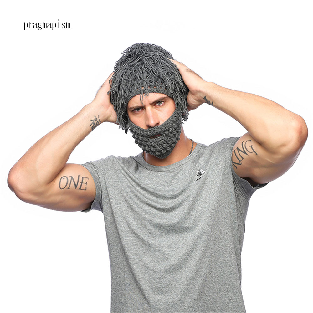 d2399e2f08b 2018 Handmade Knitted Men Winter Crochet Mustache Hat Beard Beanies Face  Tassel Bicycle Mask Ski Warm