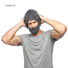 3a73294c5b3eb 2018 Handmade Knitted Men Winter Crochet Mustache Hat Beard Beanies Face  Tassel Bicycle Mask Ski Warm