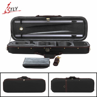 Free Shipping Black Oxford Pleuche High End Rectangle Violin Case 4 4 W Hygrometer Violino Case